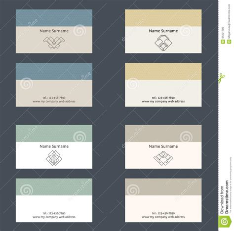 business card set template set of business card layout linear geometric logo and