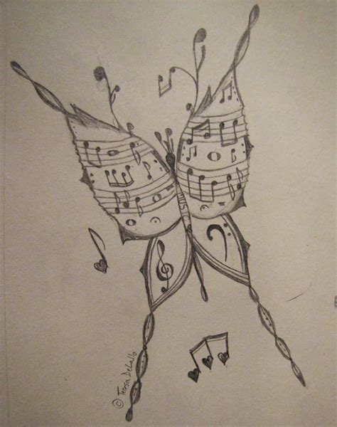 draw my tattoo musical butterfly my drawing and pencil drawings