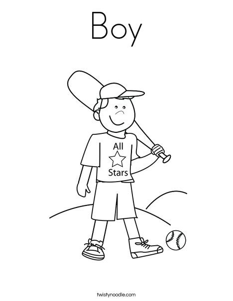 Boy Coloring Page Twisty Noodle Boy Baseball Coloring Page
