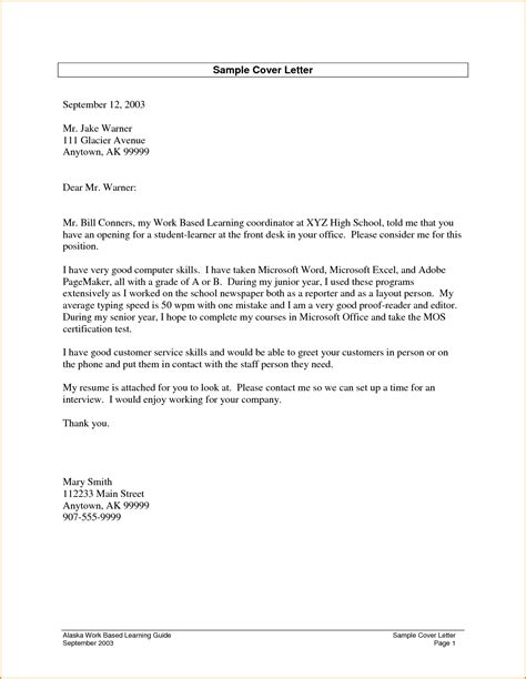 Cover Letter Student Example – Student Cover Letter Example   Letter example, Cover
