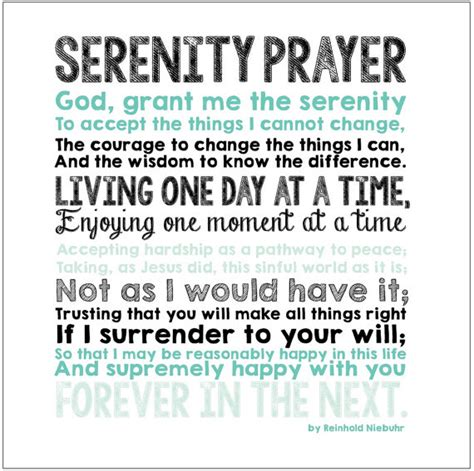 printable version of the serenity prayer serenity prayer print