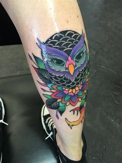 colorful owl tattoos colorful owl by hennings tattoos