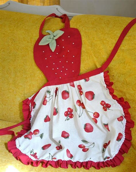 handmade strawberry print cotton apron aprons textile