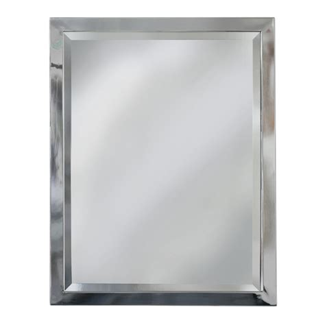 bathroom vanity mirrors lowes shop allen roth 30 in h x 24 in w chrome rectangular