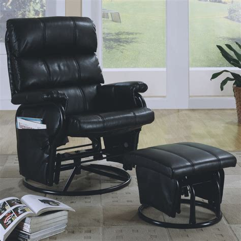 black leather look swivel rocker recliner with ottoman