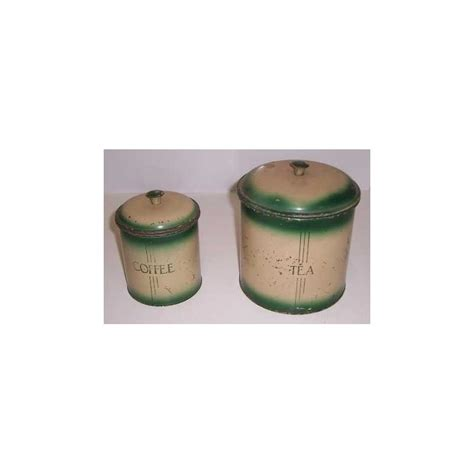 kitchen coffee canister in green in tin treats