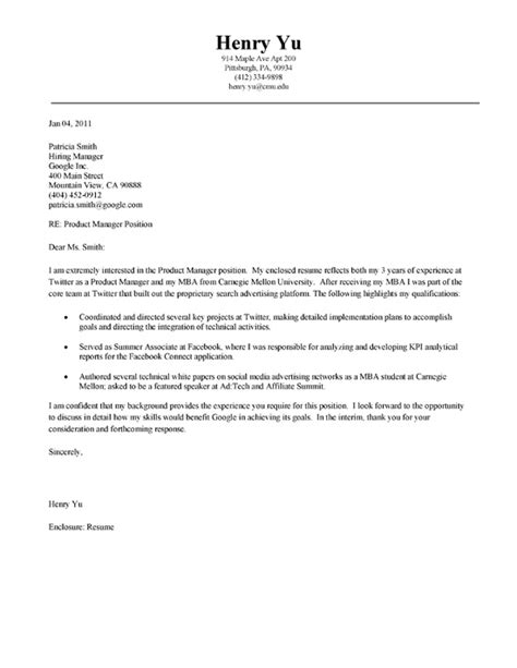 Assistant For A Mba Graduate by Mba Cover Letter Exle