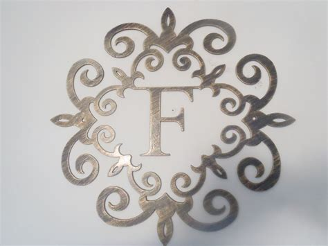 Family Initial Monogram Inside A Metal Scroll With F Metal Wall Decor Letters
