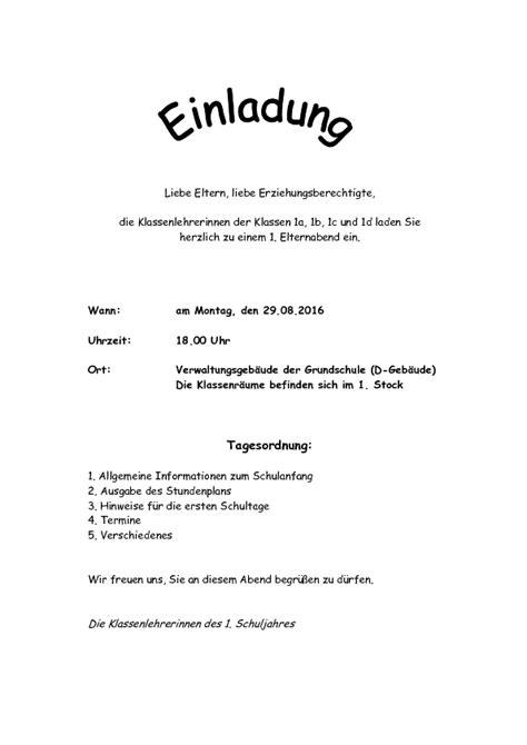 Muster Einladung Elternabend Schule Schule Im Kirchgarten Elternbriefe