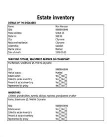 estate inventory template 17 inventory templates free sle exle format