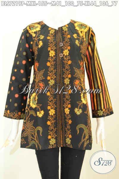 Baju Batik Resmi Elegan baju batik kerja motif kombinasi pakaian batik klasik wanita nan elegan tanpa krah cocok juag