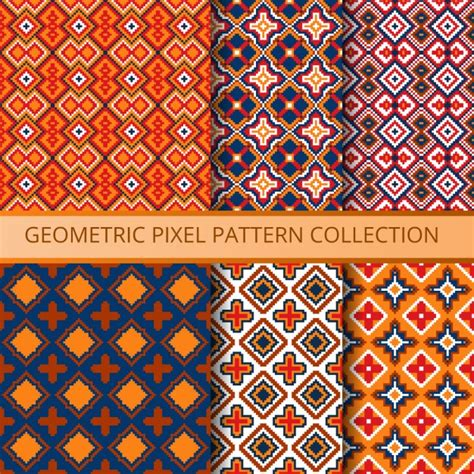 pixel pattern ai ethnic patterns with pixels vector free download