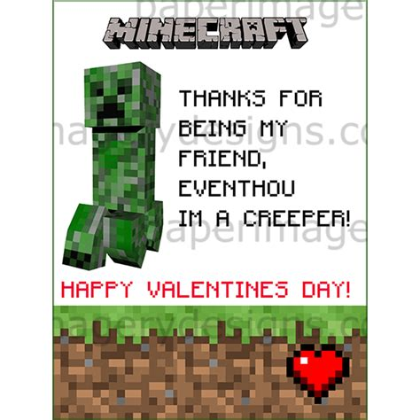 Gift Card Minecraft - minecraft valentines day cards 1 for 5 00 valentines day cards