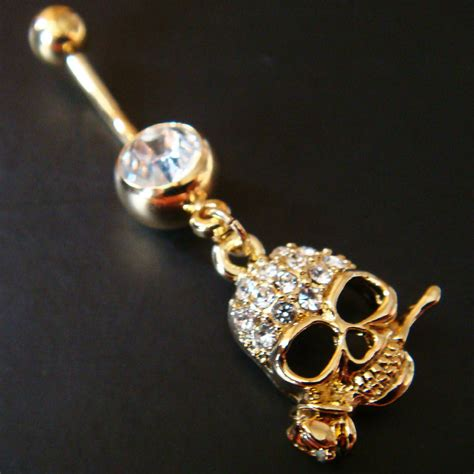 14g 3 8 skull belly button navel rings ring bar