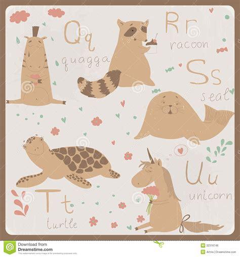 quot animals zoo alphabet with animals u animals alphabet for q to u royalty free stock