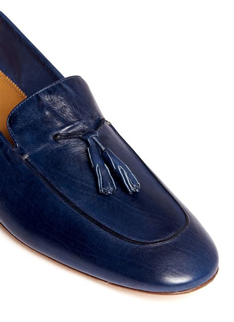 mens blue leather loafers paul smith stevenson leather loafers in blue for lyst