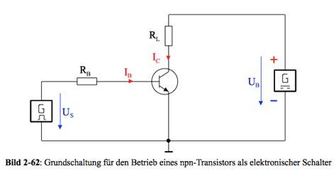 transistor npn als schalter elektronik kurs transistor als schalter