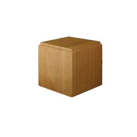brown wood large square bun foot unfinished maple