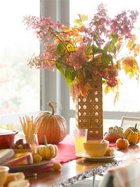 fall decorations to make beautiful thanksgiving fall table settings and centerpiece