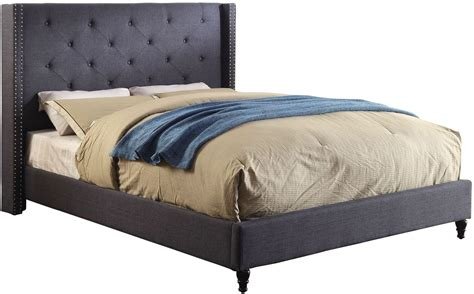 blue platform bed anabelle blue cal king upholstered platform bed cm7677bl ck bed furniture of america