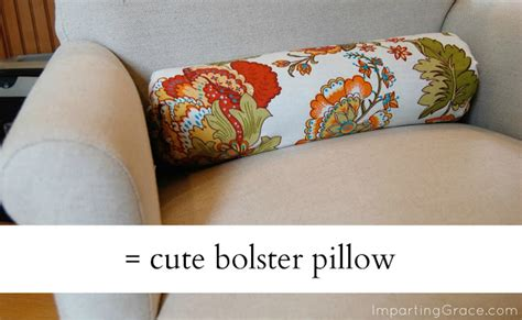 No Sew Bolster Pillow by Imparting Grace Easy Decorative Pillow Made From Scraps