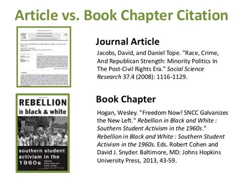 reference books vs citation identification article vs book chapter