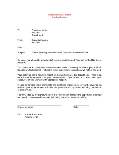 Explanation Letter For Being Unprofessional Template Disciplinary Lettersexles Gables