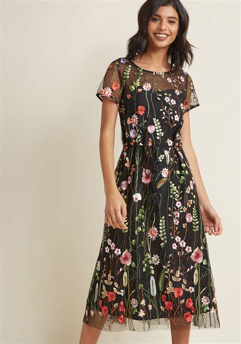 Flower Dress floral midi dress with embroidered overlay modcloth