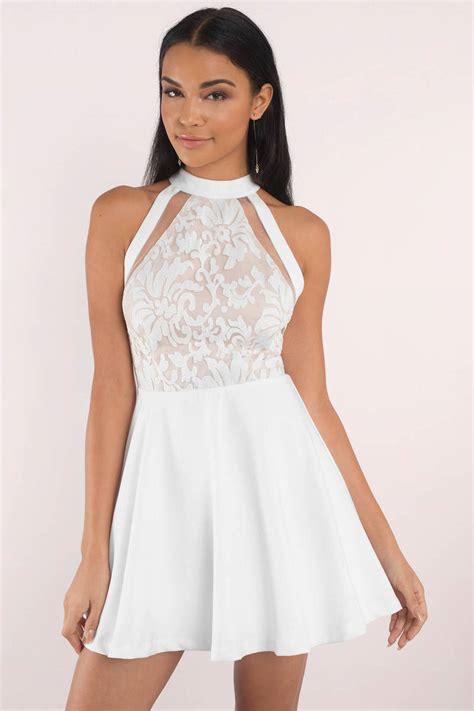 Dress I white skater dress lace high neck dress white