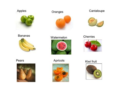 6 fruits name fruit and vegetables