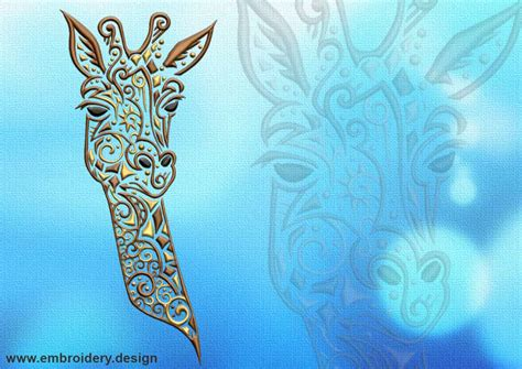 tattoo embroidery designs portrait of giraffe