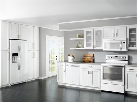 Kitchen White Cabinets Black Appliances White Kitchen Appliances On