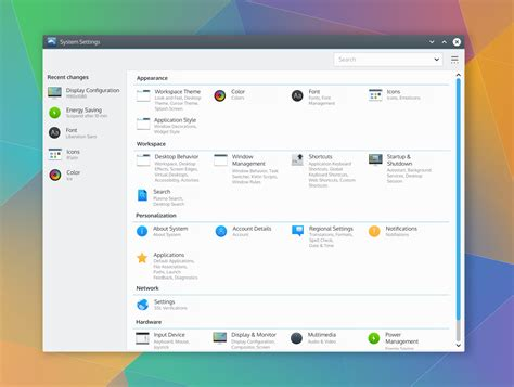 C Application Layout Design | kde visual design group system settings application kde