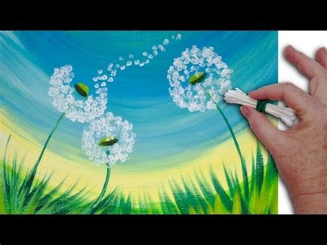 can you use acrylic paint on cotton canvas dandelion cotton swabs painting technique for beginners
