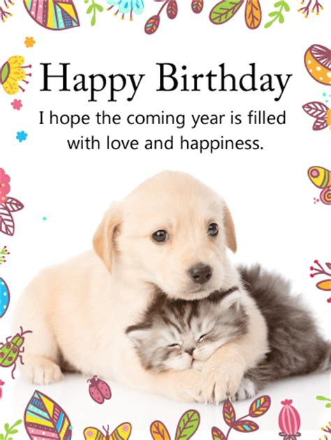 printable happy birthday cards from the dog cuddling dog cat happy birthday card birthday