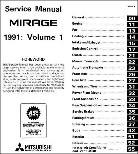 service manual free auto repair manuals 1991 mitsubishi truck spare parts catalogs 1991 1991 mitsubishi mirage repair shop manual set original