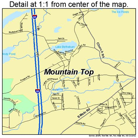 mountain top bar pa mountain top pennsylvania street map 4251384