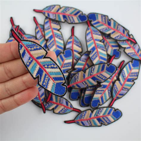 Patchwork Iron - 1pcs blue feather sew iron on patch for jacket