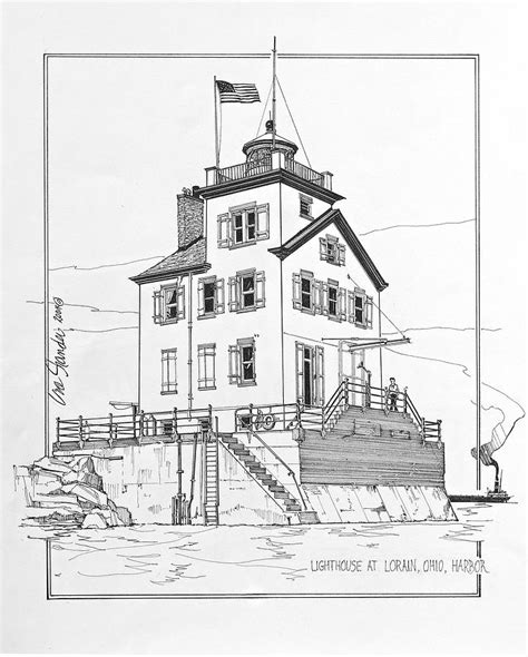 boat and lighthouse drawing lighthouse at lorain ohio harbor drawing by ira shander