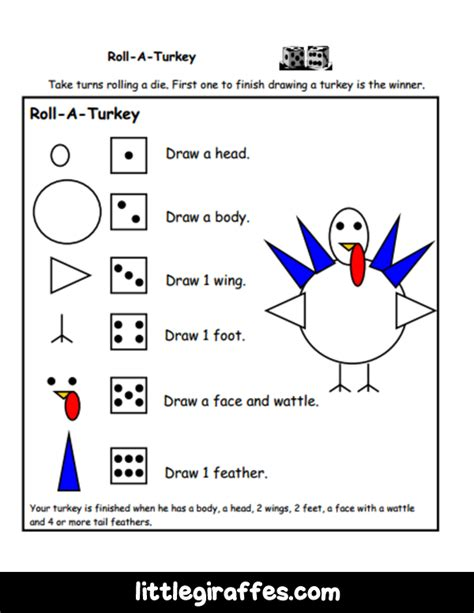 printable roll a turkey roll a turkey printable game a to z teacher stuff