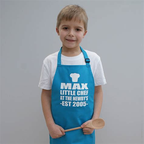 personalised little chef childrens apron by sparks