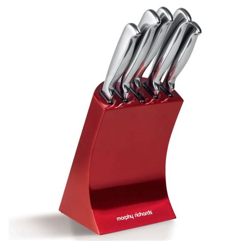 Morphy Richards 46291 5 Piece Knife Block   Red Homeware