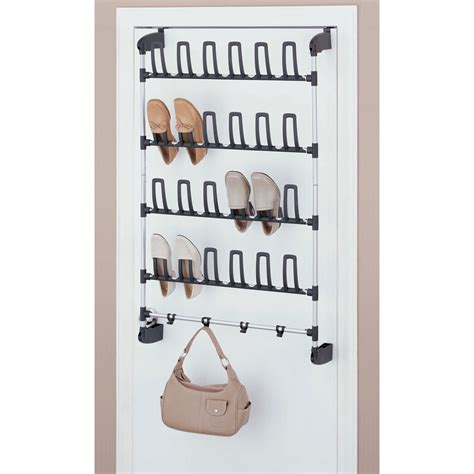 shoe hooks storage organize it all 12 pair overdoor shoe rack with 4 hooks