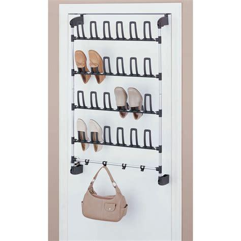shoe storage back of door organize it all 12 pair overdoor shoe rack with 4 hooks