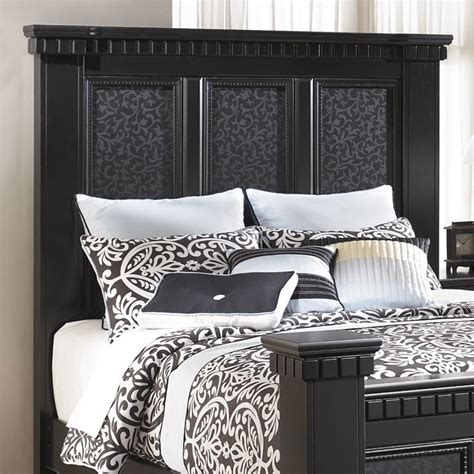 black wood headboards ashley cavallino wood queen panel headboard in black