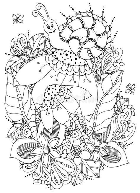 Illustrazione Zen Tangle Snail Di Vettore Sui Fiori
