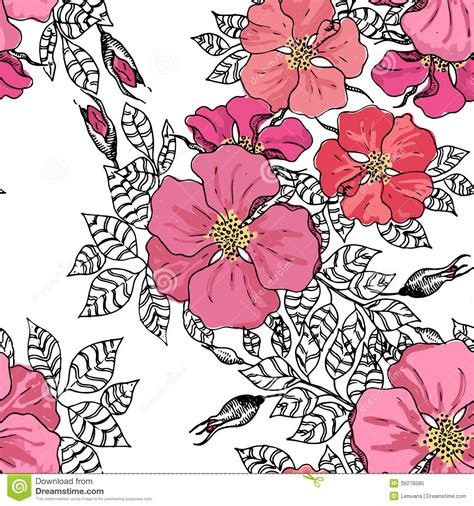 graphic pattern motif vintage graphic flower seamless pattern texture stock