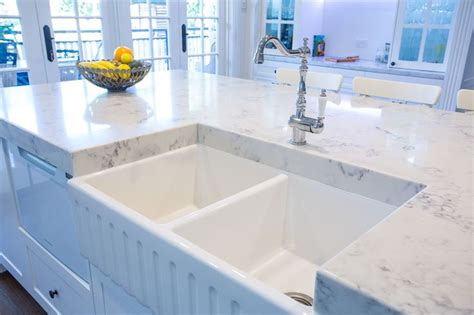 kitchen island bench with sink double bowl belfast sink with traditional tap is a feature
