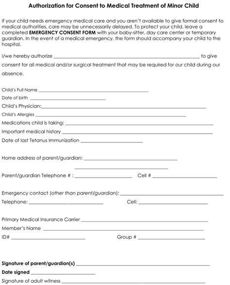 medication consent form template free printable child consent form shareitdownloadpc
