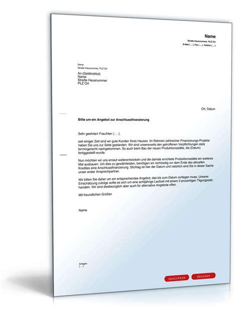 Musterbriefe Geschaeftsbriefe anfrage angebot anschlussfinanzierung muster zum